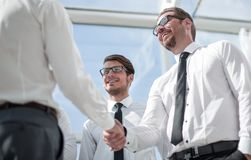 Close up.business people shaking hands with each other royalty free stock image