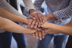 Close up business people stacking hands. At creative office Royalty Free Stock Image