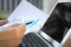 Close-up of business person use laptop Stock Images