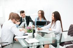 Close up. business team discussing new ideas. teamwork. Close up.business team discussing new ideas stock image