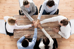 Close up of business team with hands on top Royalty Free Stock Image