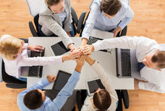 Close up of business team with hands on top Stock Images