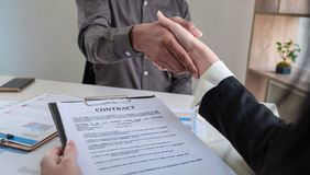 Close up. Business team handshake after meeting royalty free stock photography
