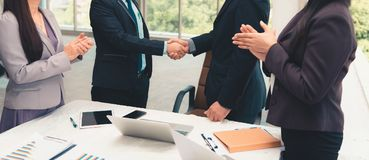 Close up business team and partners business are joining handshakes together after agreement deal complete, Business concept. Close up business team and partners stock images