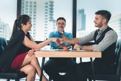 Close-Up Business Team and Partners are Joining Handshakes Together After Agreement Deal Complete., Business Financial Concept.  royalty free stock photo