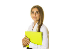 Close-up of business woman with folder Royalty Free Stock Images