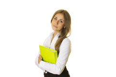 Close-up of business woman with folder Stock Photography