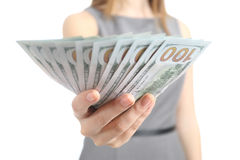Close up of a business woman hand holding banknotes Stock Photo