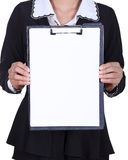 Close-up business woman holding a blank clipboard isolated on wh Royalty Free Stock Photos