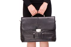 Close up of business woman holding briefcase Royalty Free Stock Image