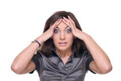 Close up of business woman with problem Stock Photos