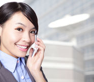 Close up of business woman talking phone Stock Image