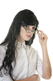 Close up of business woman wearing reading glasses Stock Photography