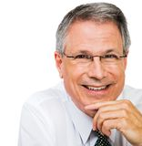 Close-up of businessman. Close-up of a businessman smiling isolated over white Royalty Free Stock Image