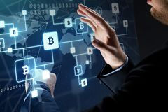 Close up of businessman with bitcoin block chain royalty free stock photos