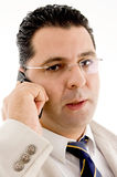 Close up of businessman busy on phone call Royalty Free Stock Photography