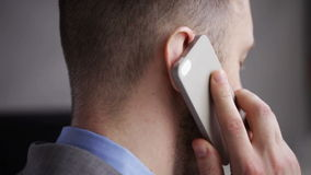 Close up of businessman calling on smartphone stock video