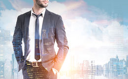 Close up of businessman and a city view Stock Photography