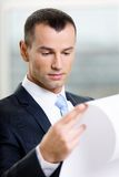 Close up of businessman with draft Stock Images