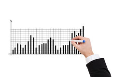Close up of businessman drawing chart Stock Image