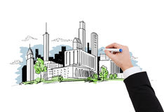 Close up of businessman drawing city sketch. Business and architecture concept - close up of businessman drawing city sketch stock photos