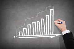 Close up of businessman drawing growing graph. Business and economics concept - close up of businessman drawing growing graph on concrete wall Royalty Free Stock Photos
