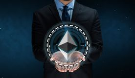 Close up of businessman with ethereum over space Royalty Free Stock Images