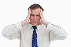 Close up of businessman experiencing a headache Royalty Free Stock Image