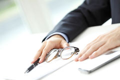 Close-up of businessman fill the form Stock Images