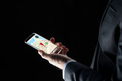 Close up of businessman with gps map on smartphone Royalty Free Stock Photo