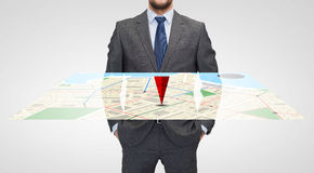 Close up of businessman with gps navigator map Royalty Free Stock Image