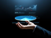 Close up of businessman hand with chart projection Royalty Free Stock Photos