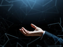 Close up of businessman hand over black Stock Photography
