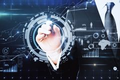 Future and innovation concept. Close up of businessman hand pointing at abstract digital business interface. Future and innovation concept. Double exposure Royalty Free Stock Images