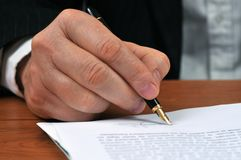 The signing of the contract royalty free stock image