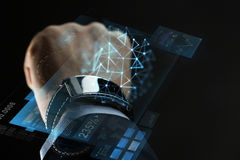 Close up of businessman hand with smartwatch Stock Image