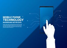 Close up Businessman hand touch finger on mobile phone screen. royalty free illustration