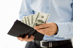 Close up of businessman hands holding money Stock Photo