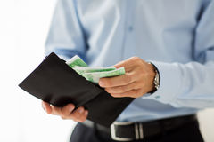Close up of businessman hands holding money Royalty Free Stock Images