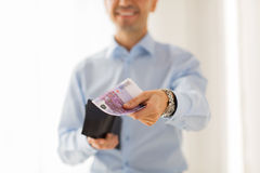 Close up of businessman hands holding money Stock Photography