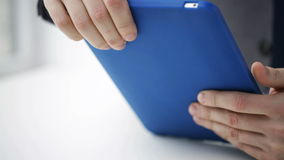 Close up of businessman hands with tablet pc stock video