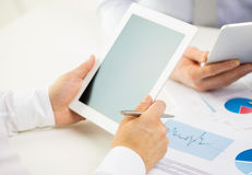 Close up of businessman hands with tablet pc Royalty Free Stock Images