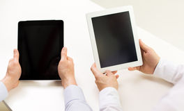 Close up of businessman hands with tablet pc Stock Images
