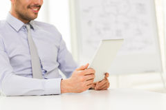 Close up of businessman hands with tablet pc Royalty Free Stock Photography