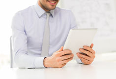 Close up of businessman hands with tablet pc Royalty Free Stock Image
