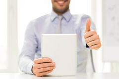 Close up of businessman hands with tablet pc Royalty Free Stock Photos