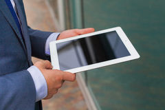 Close up of businessman hands with tablet pc. Copy space Royalty Free Stock Photos