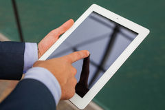 Close up of businessman hands with tablet pc. Copy space Stock Image