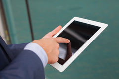 Close up of businessman hands with tablet pc. Copy space Stock Photos