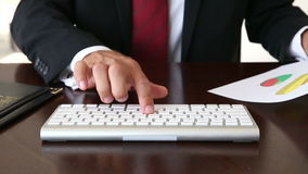 Close Up Of Businessman Hands Typing On Keyboard. Businessman Typing On His Computer stock footage